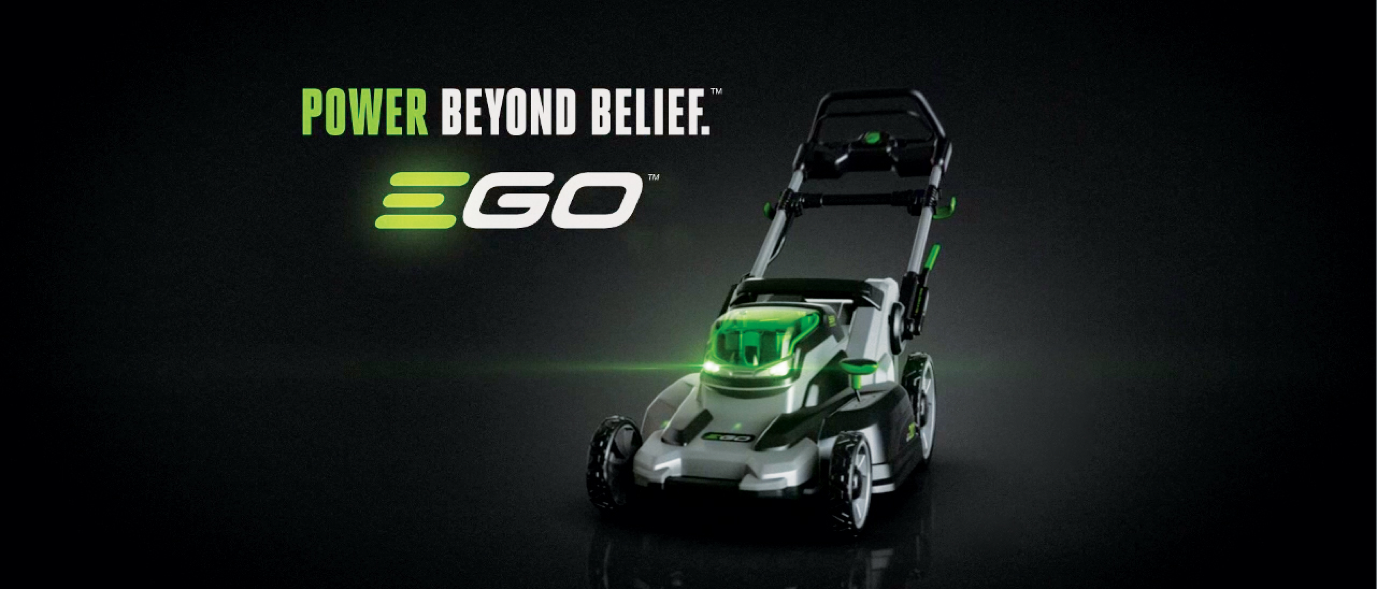 """EGO's branding """"Power Beyond Belief"""" next to an EGO lawn mower."""