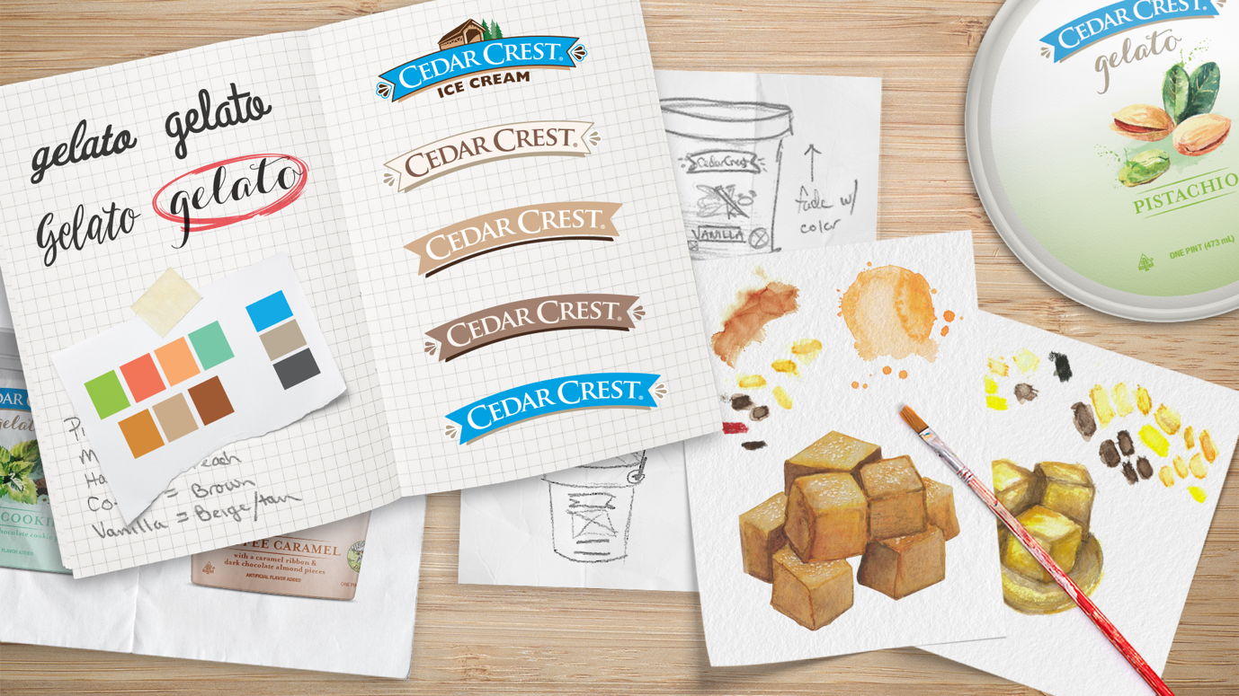 Cedar Crest brand concept sketches and drawings