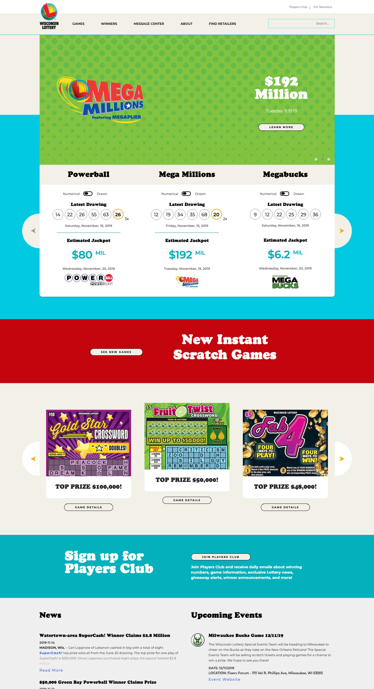 Wisconsin Lottery website home page