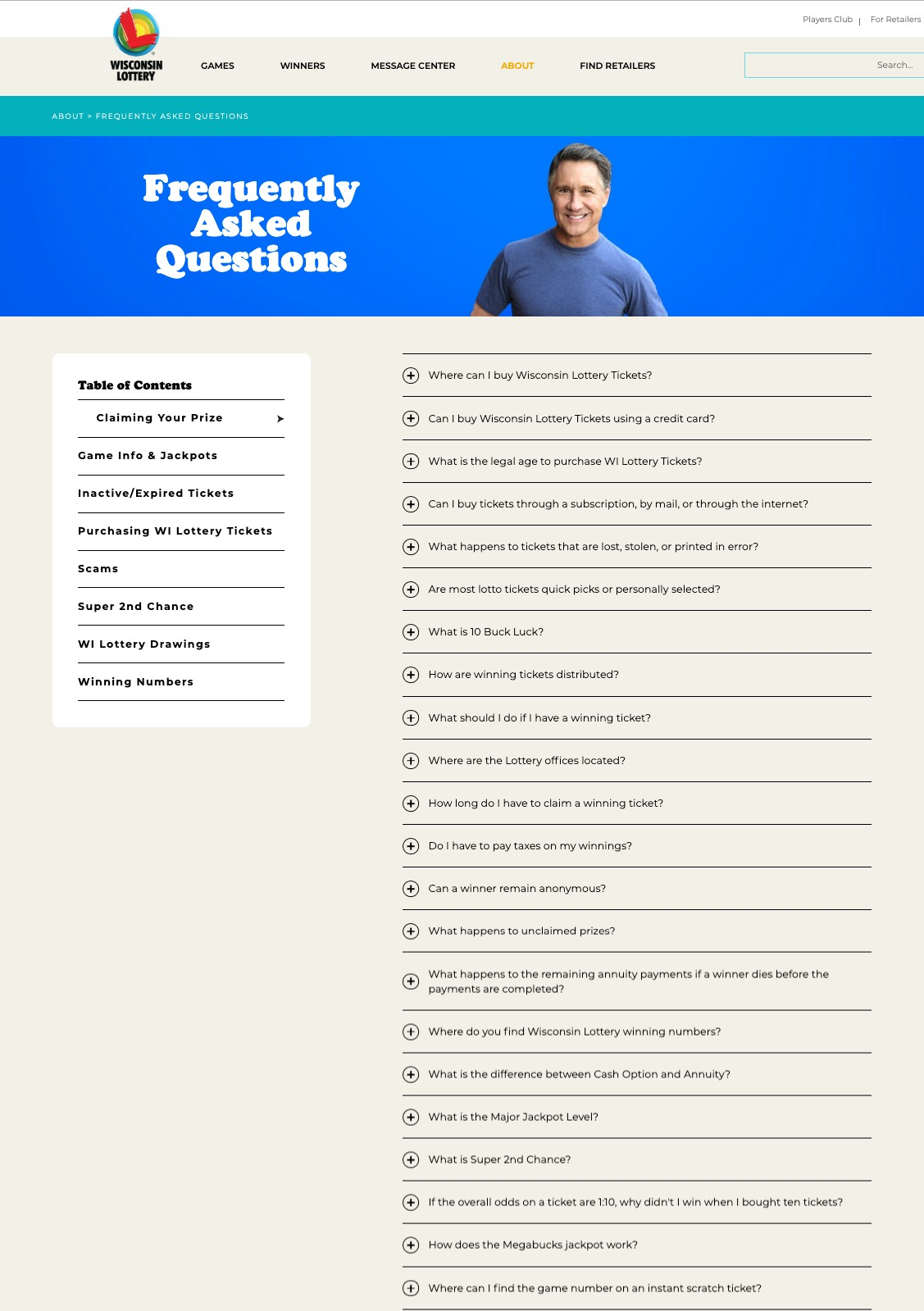 Wisconsin Lottery website FAQ page
