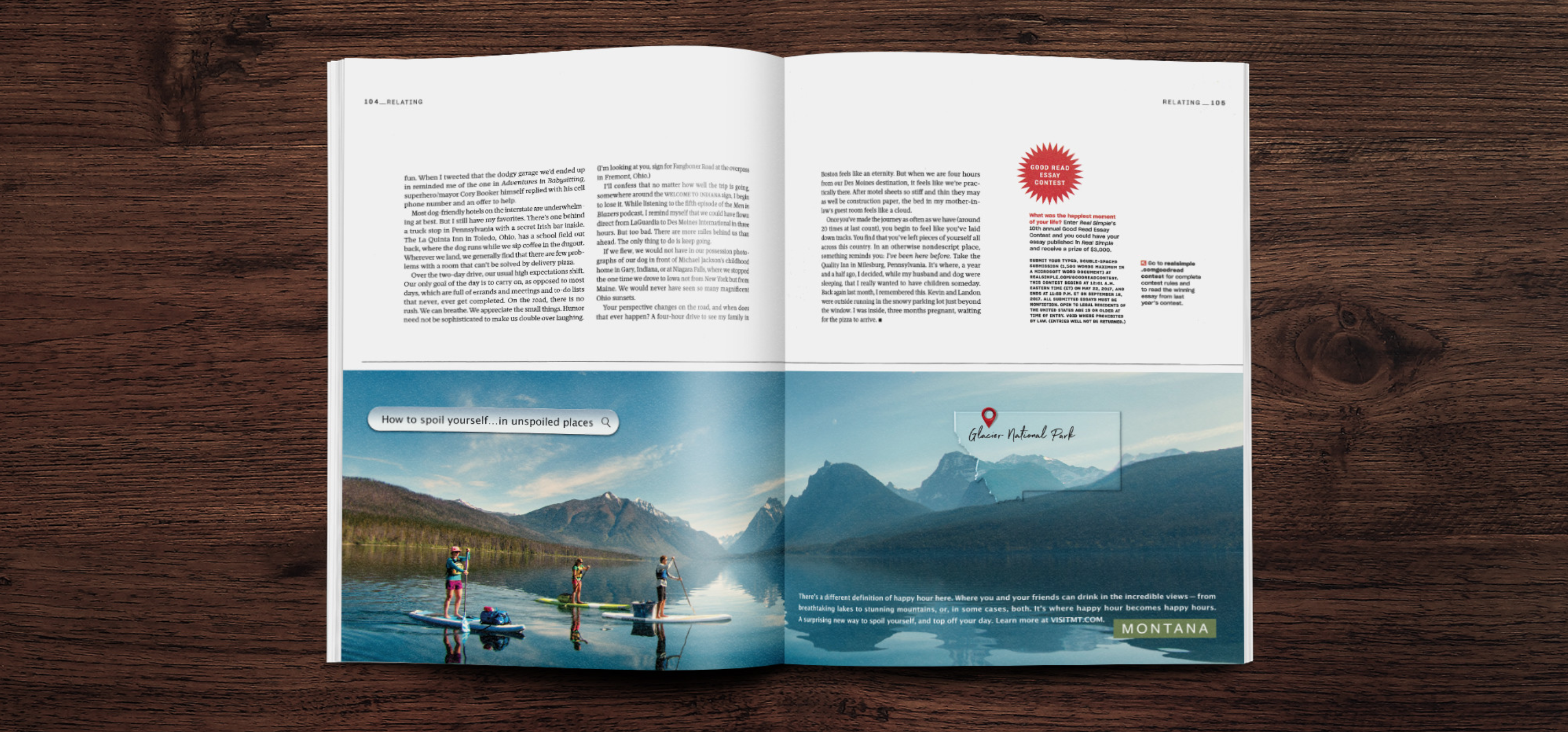 An open magazine showing a full-page spread publication for the Montana Moments campaign