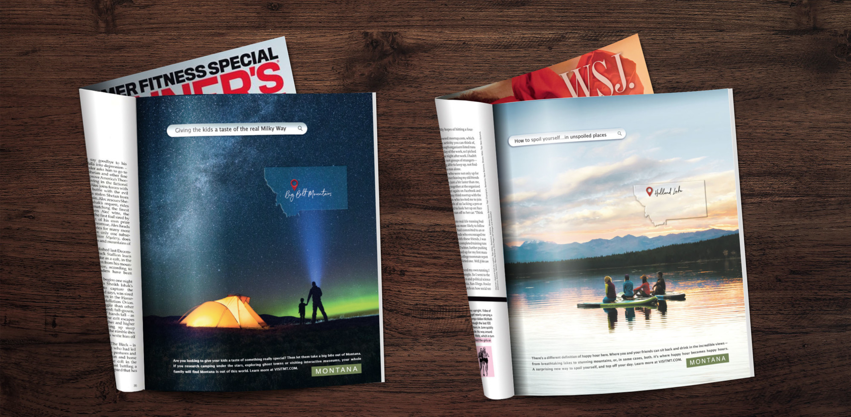 Two open magazines showing full-page print publications for the Montana Moments campaign