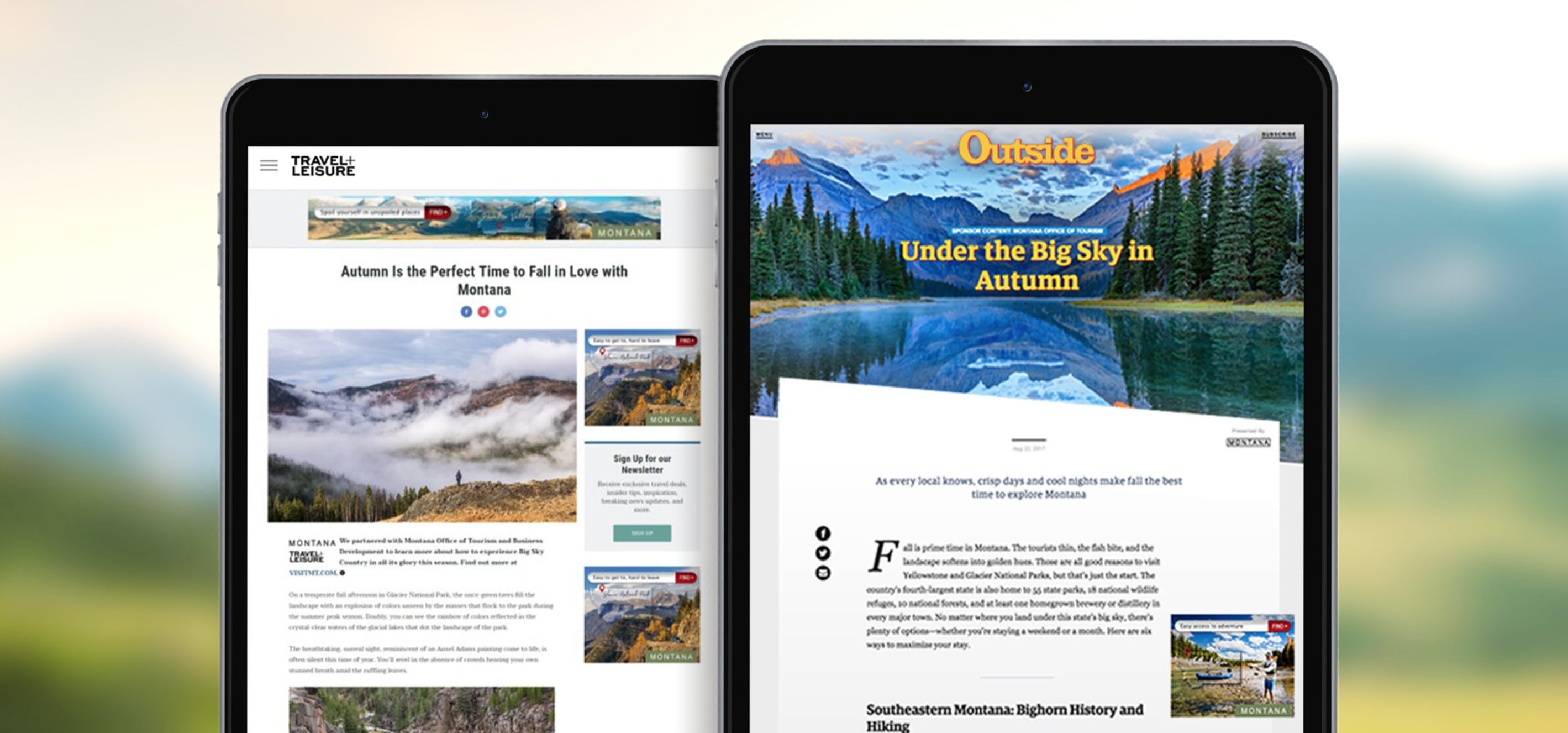 Two iPads each showing a Montana digital publication.