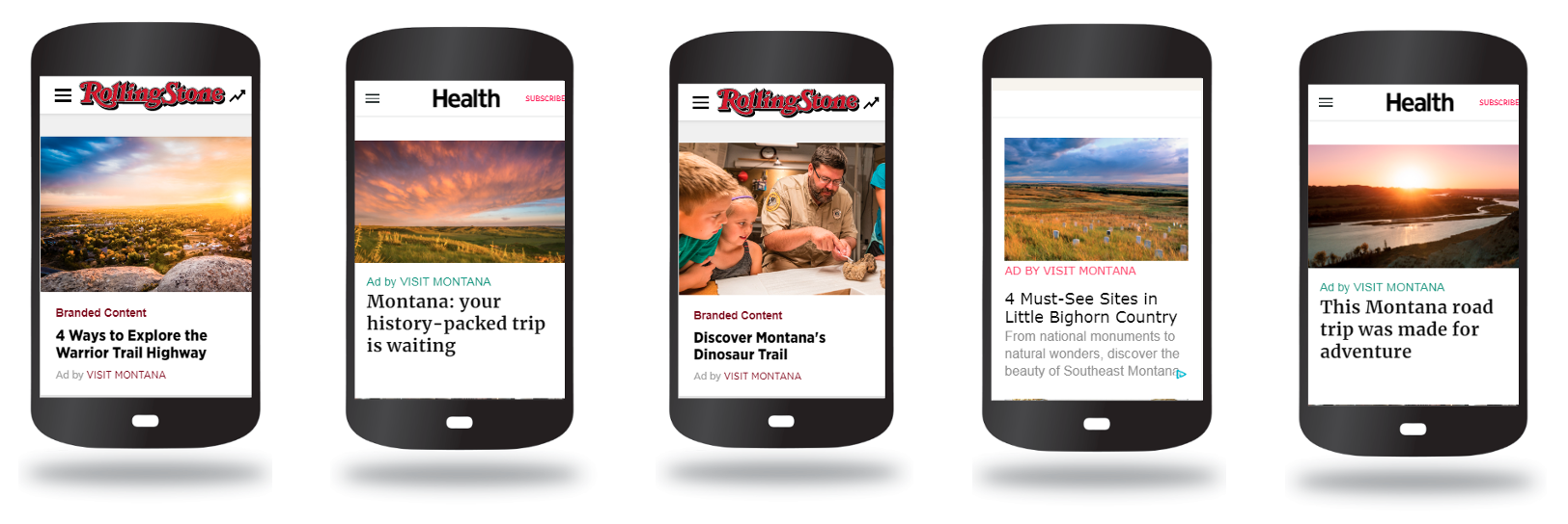 Five examples of Montana native display ads on mobile phones.