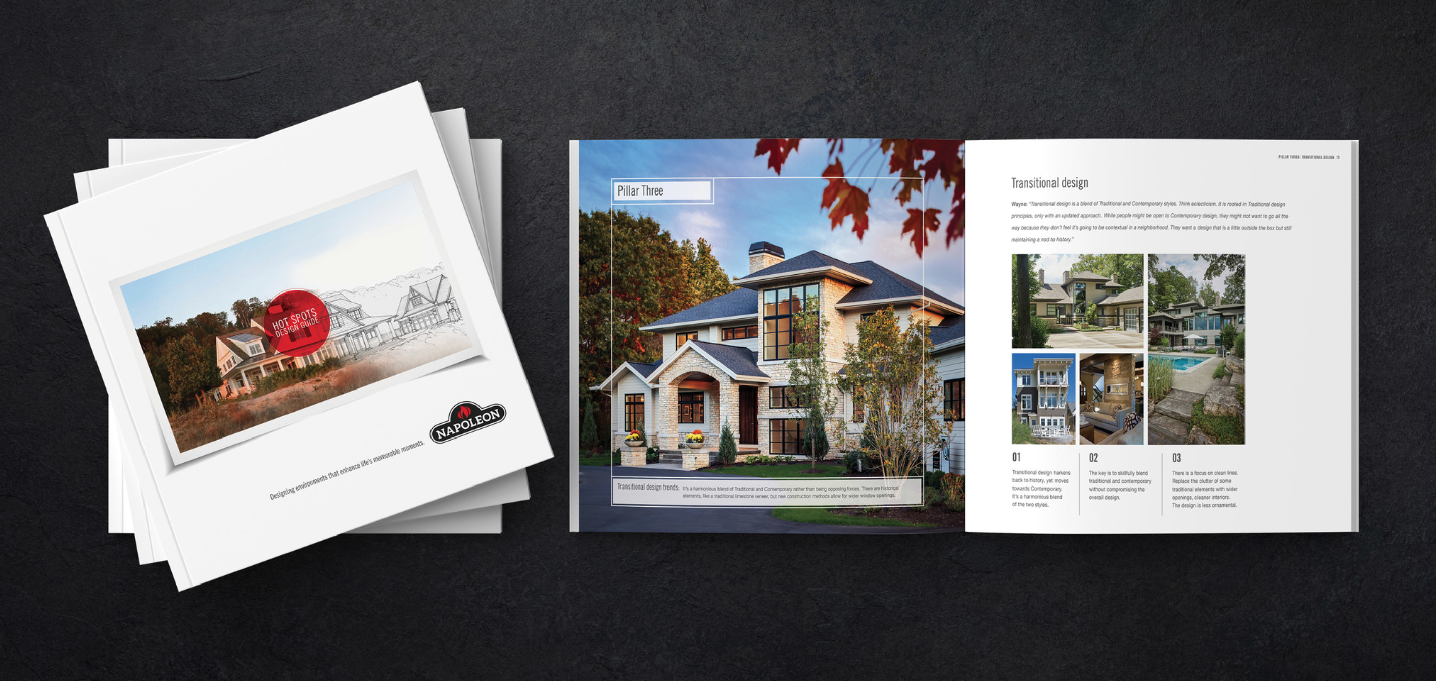 Napoleon fireplaces Hot Spots campaign design guide designed by Wayne Visbeen and Hoffman York.