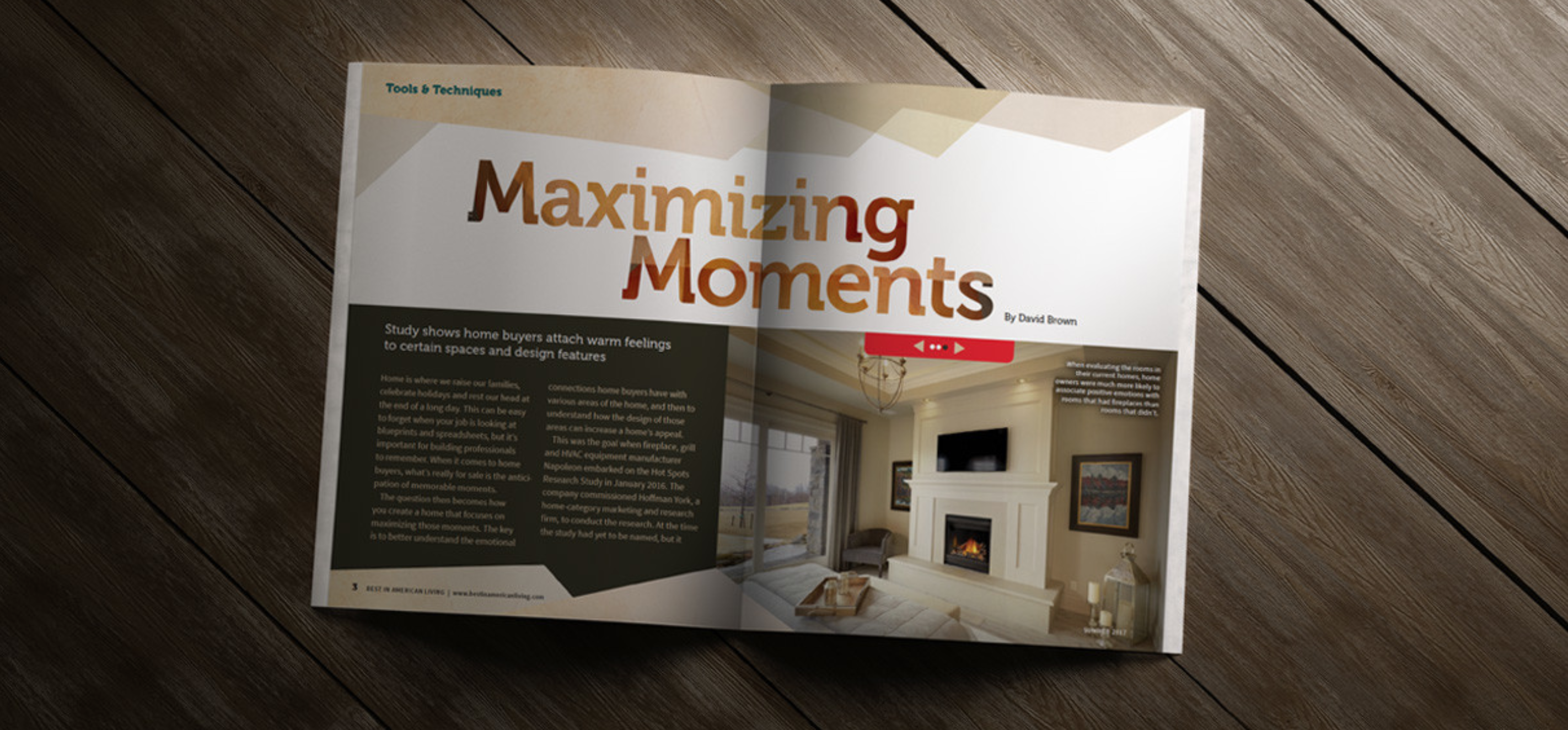 Napoleon fireplaces Hot Spots campaign placement in magazine