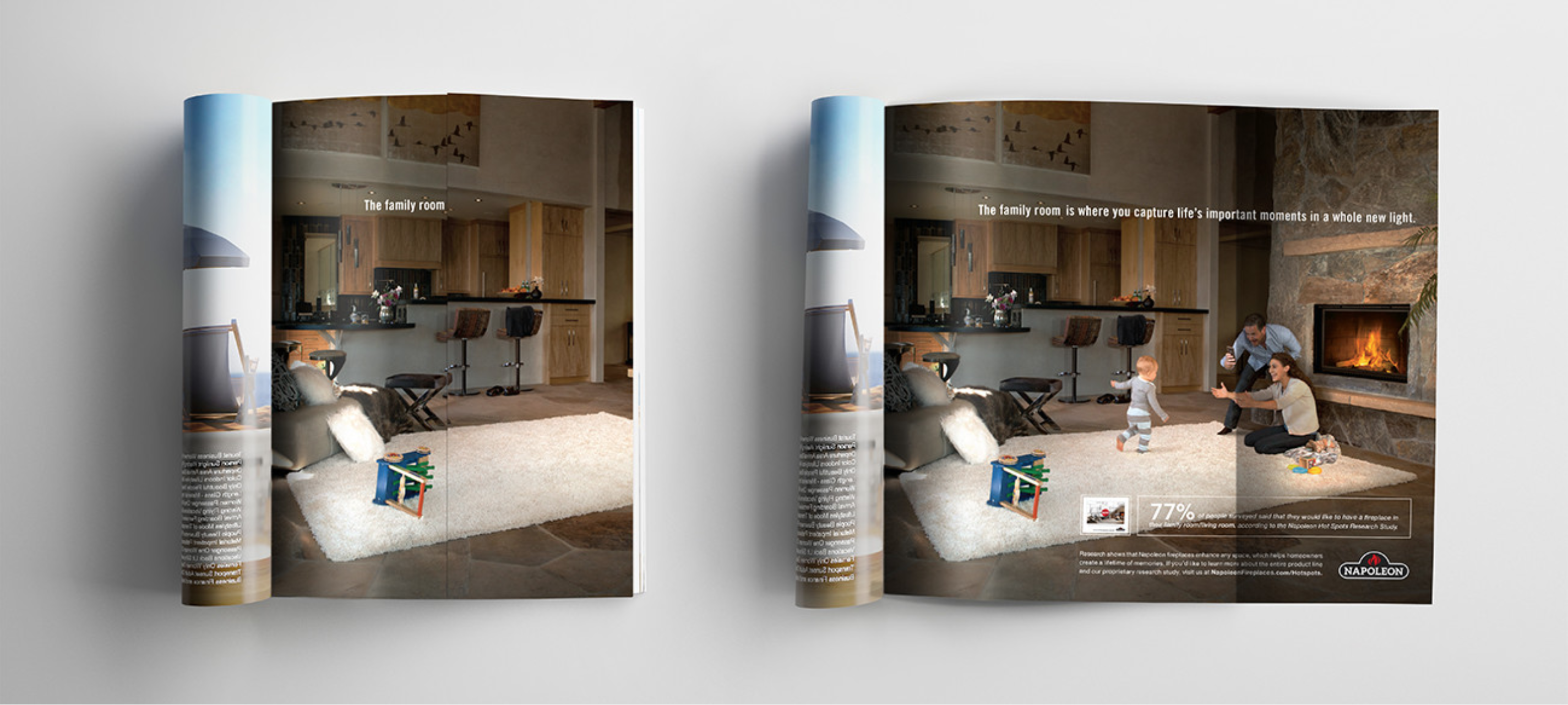 Napoleon fireplaces Hot Spots campaign magazine placements and microsite.