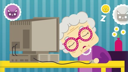 Grandma Asleep Because of Boring Computer Ad