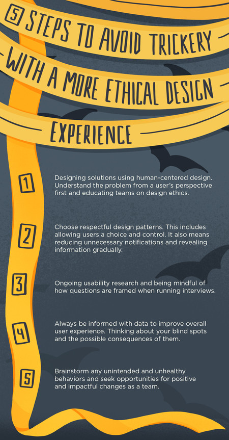 5 steps to avoid trickery with a more ethical design experience infographic.
