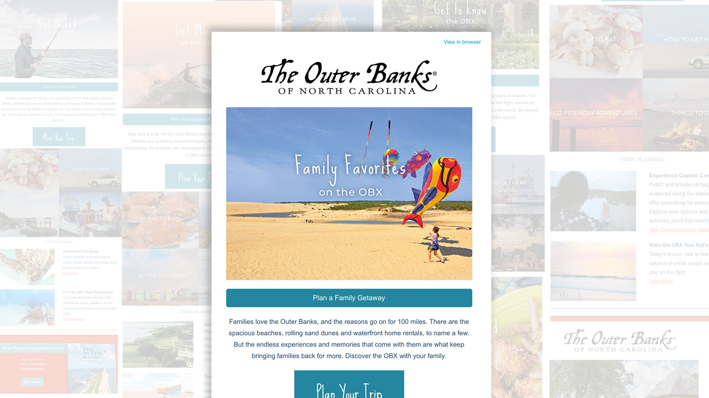 Example of an Outer Banks interest category email.