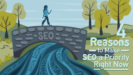 Marketer crossing a bridge labeled SEO crossing a river made of words like new normal and pandemic