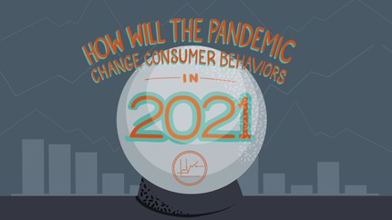 Crystal ball filled with graphs and title overlay How will the pandemic change consumer behaviors in 2021?