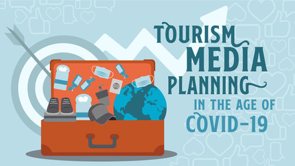 Suitcase with mask, wipes, hand sanitizer with title overlay Tourism Media Planning in the Age of COVID-19