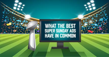 Super Bowl trophy next to a tv that reads 'What the Best Super Sunday Ads Have in Common'