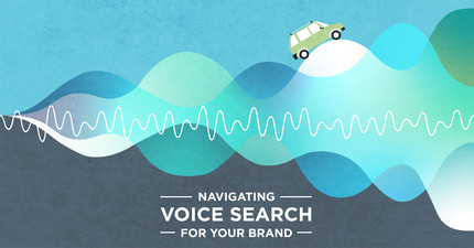 Car driving up and down sound waves and title overlay 'Navigating Voice Search for Your Brand'