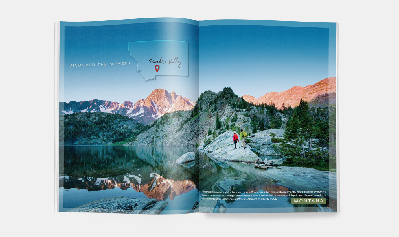 Open magazine spread featuring hikers near a lake and mountains in Paradise Valley, Montana.