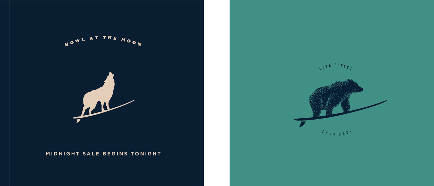 Two branding options for the Lake Effect logo.