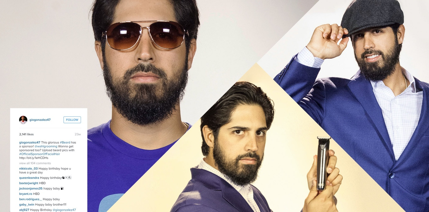 Former Washington Nationals pitcher Gio Gonzalez posing with a Wahl beard trimmer.