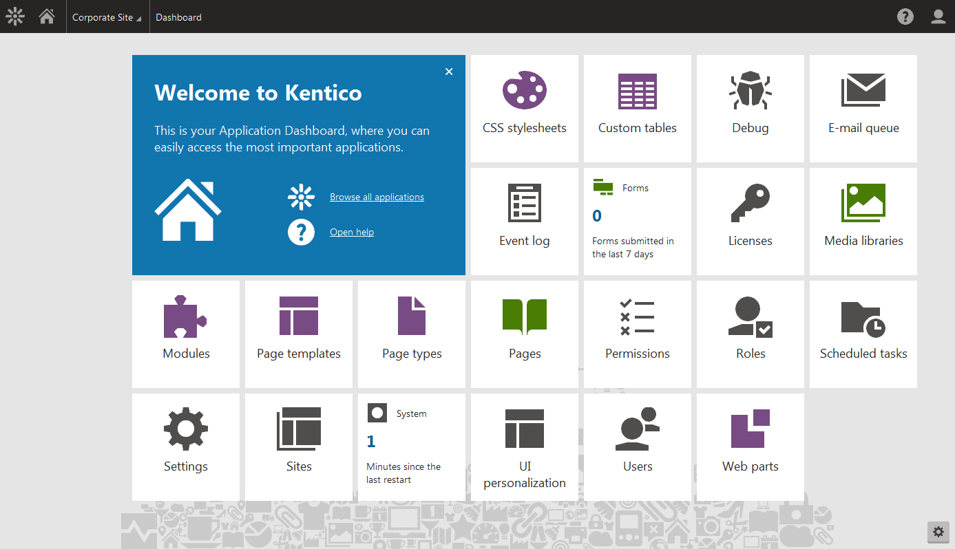 Kentico content management system (CMS) dashboard.