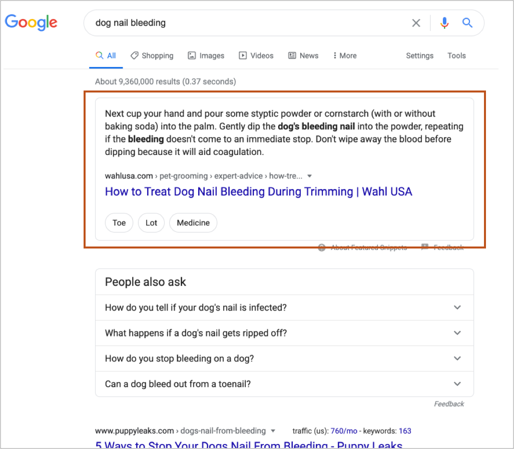 Wahl USA How to Treat Dog Nail Bleedings During Trimming article as the Google featured snippet search result.