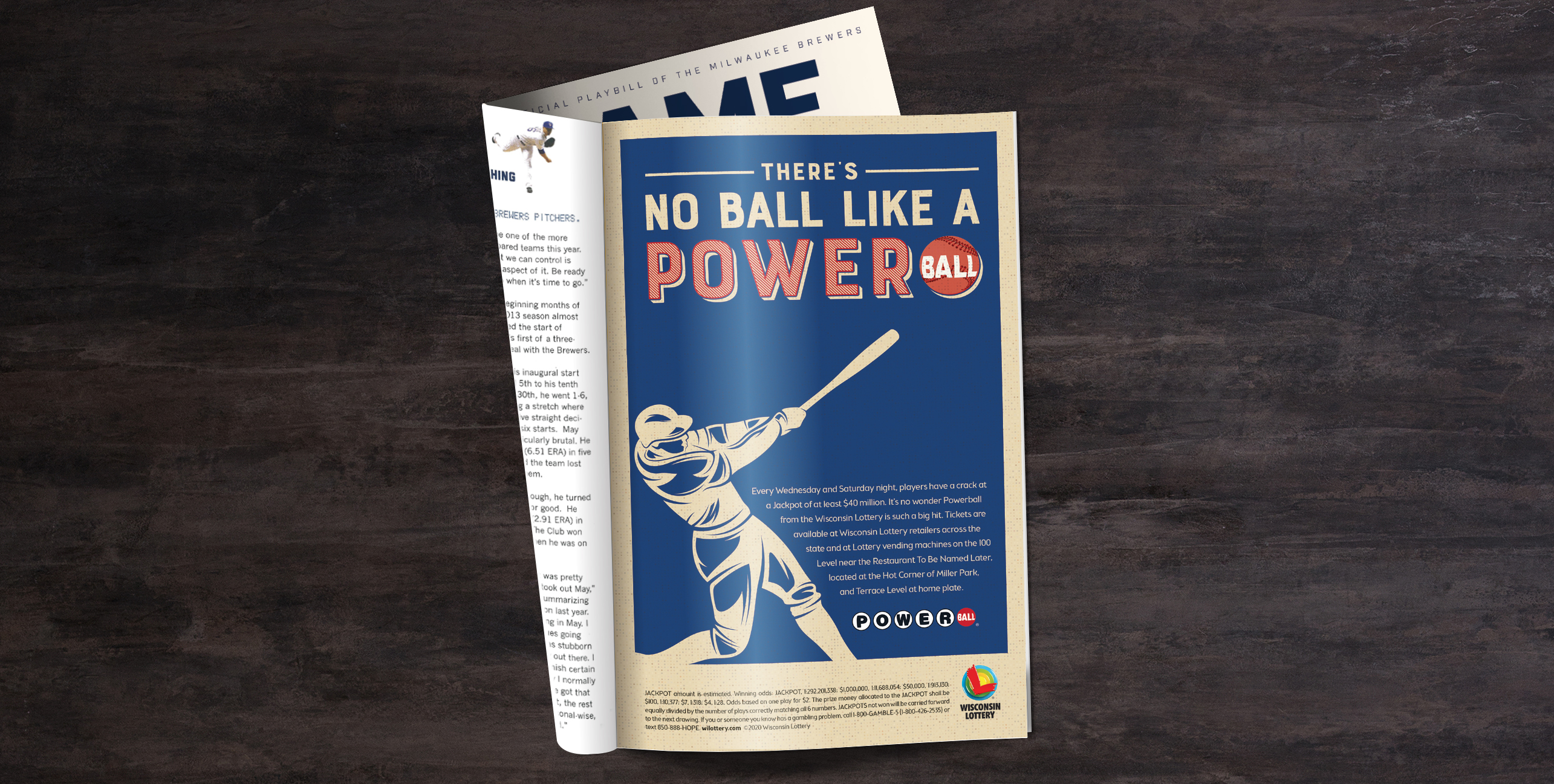 """A print ad that reads """"There is no ball like a Powerball."""" The ad features a baseball player swinging a bat."""