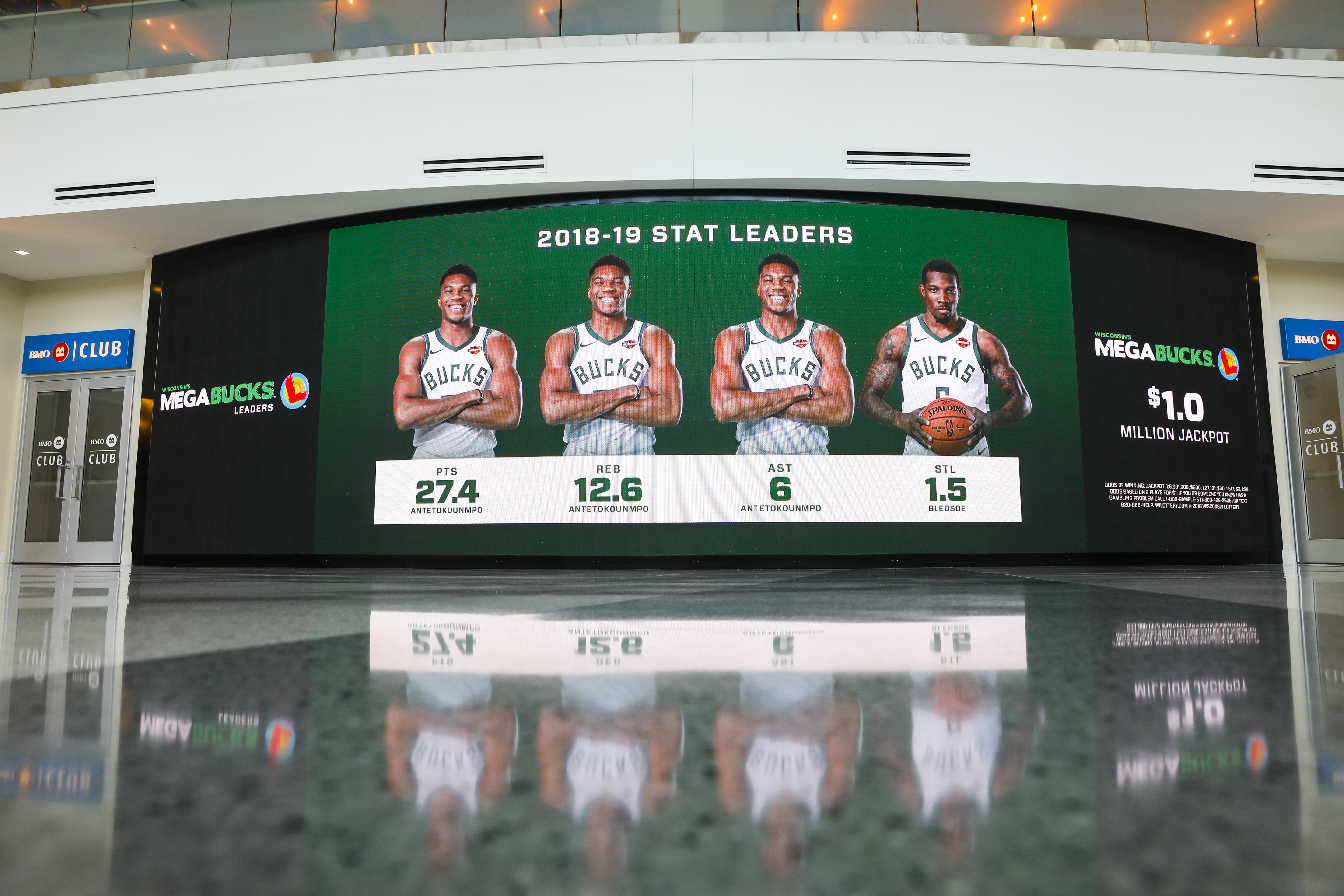 A large digital display in the stadium of a 2018-2019 stats leaderboard featuring Milwaukee Bucks players Giannis Antetokounmpo and Eric Bledsoe. The display advertises the Wisconsin Lottery Megabucks lotto game jackpot.