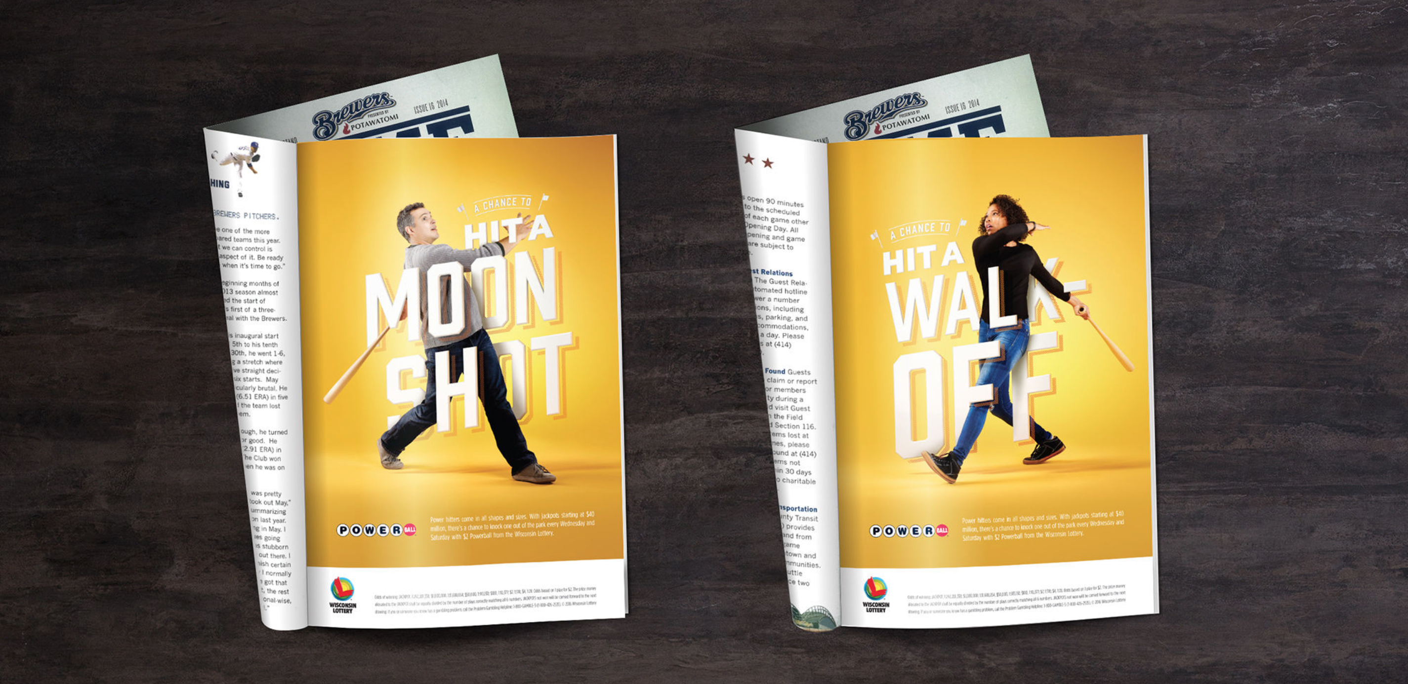 Two magazine spreads showcasing the Wisconsin Lottery Brewer's Powerball campaign.