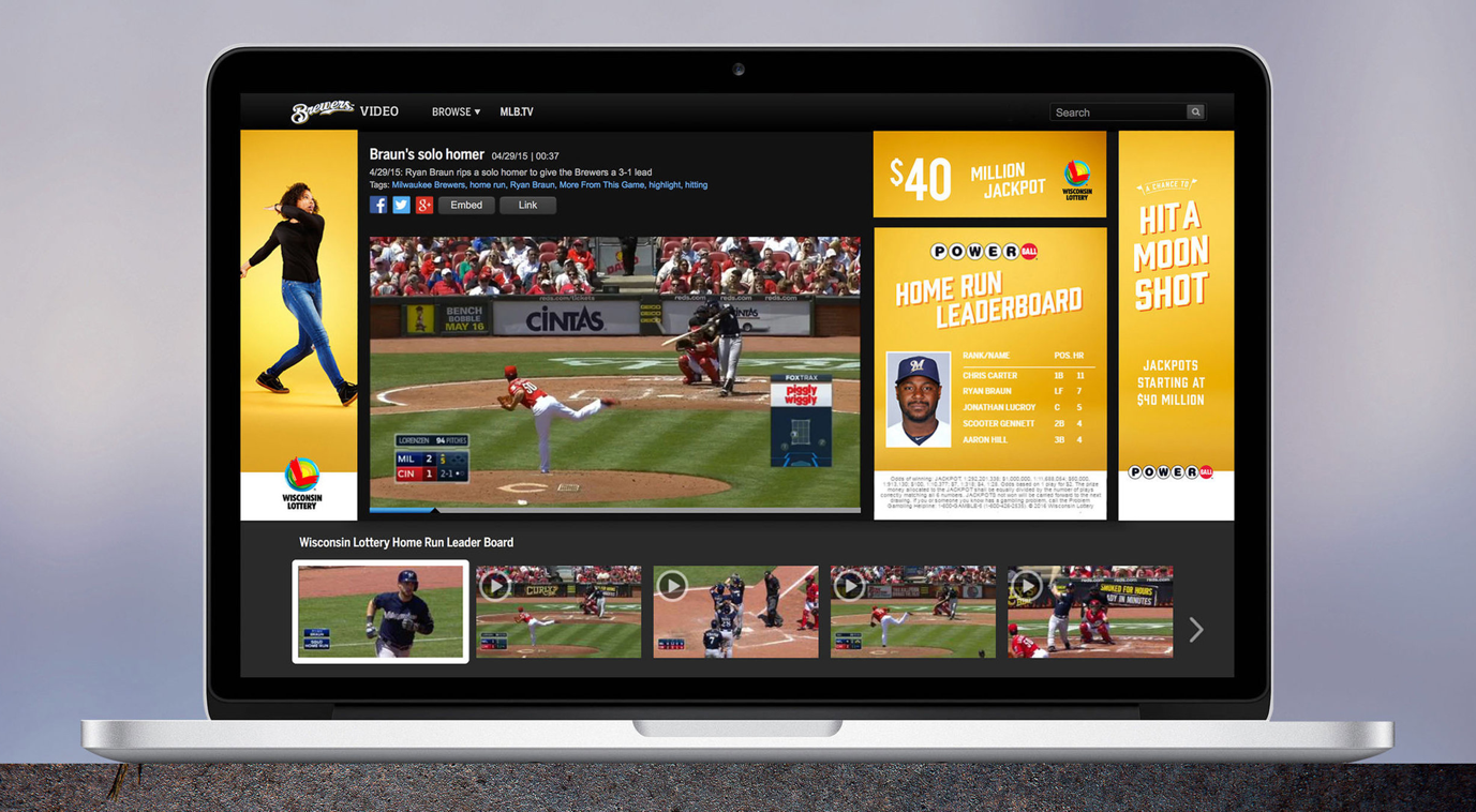 Powerball ad placements on the Home Run Leaderboard on Milwaukee Brewer's website.