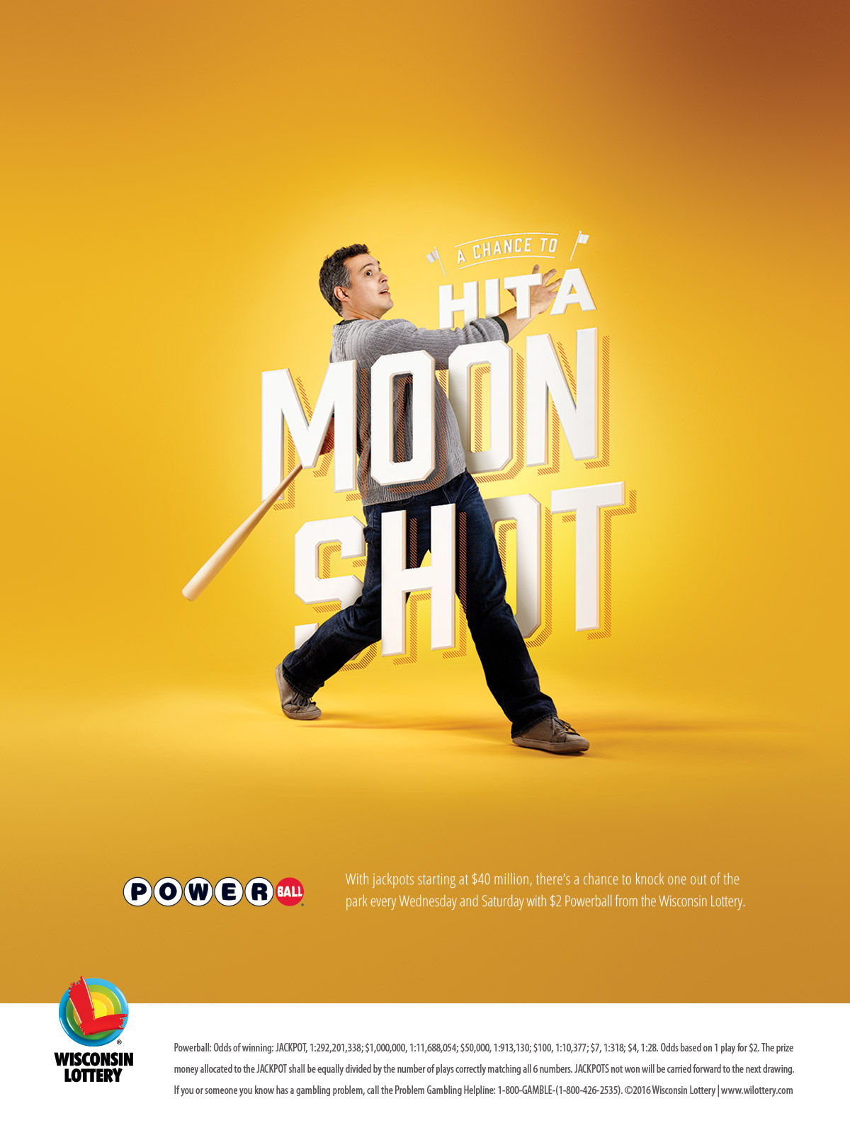 "A man swinging a baseball bat. He is surrounded by text that reads: ""A Chance to Hit a Moon Shot"""