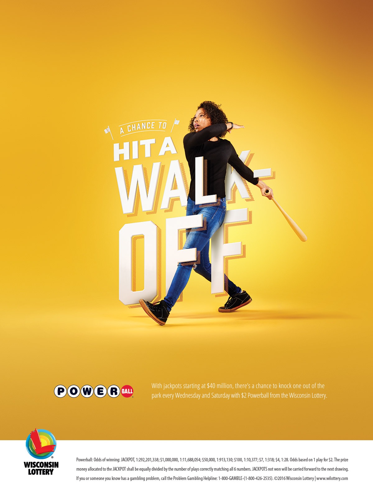 "A woman swinging a baseball bat. She is surrounded by text that reads: ""A Chance to Hit a Walk-Off"""